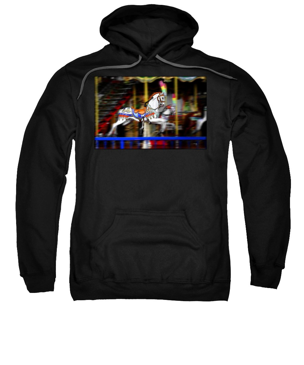 Carousel Sweatshirt featuring the painting Carousel Horse by Tom Bell