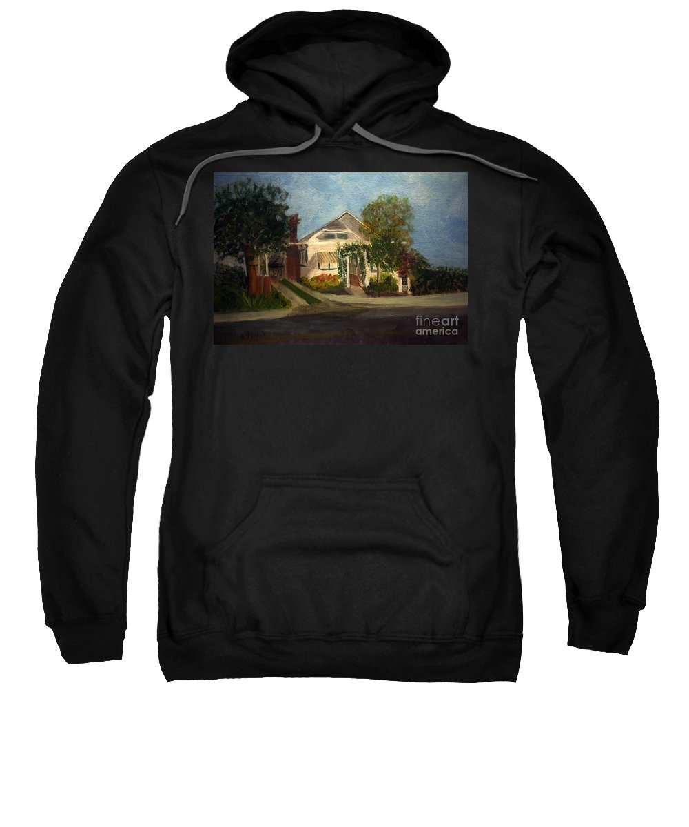 America Sweatshirt featuring the painting Cason Cottage Delray Beach by Donna Walsh