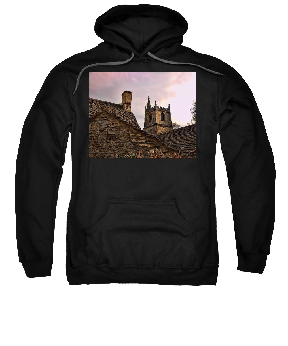 Castle Combe Sweatshirt featuring the photograph Sunset At Castle Comb Church - Wilshire England by Jon Berghoff