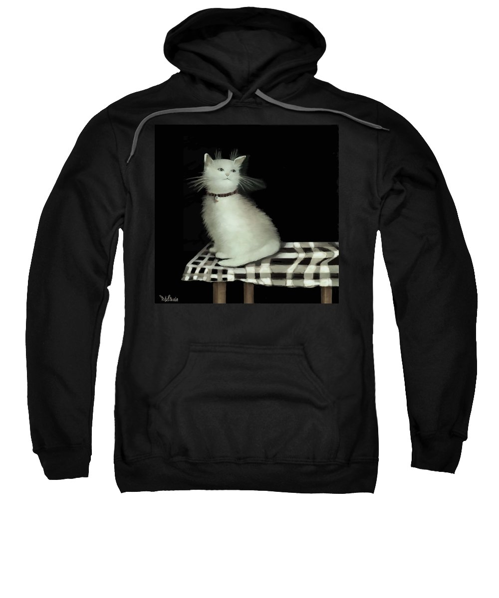 Diane Strain Sweatshirt featuring the painting Cat On Checkered Tablecloth  No. 2 by Diane Strain