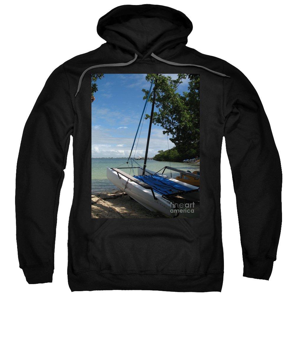 Beach Sweatshirt featuring the photograph Catamaran On The Beach by Christiane Schulze Art And Photography