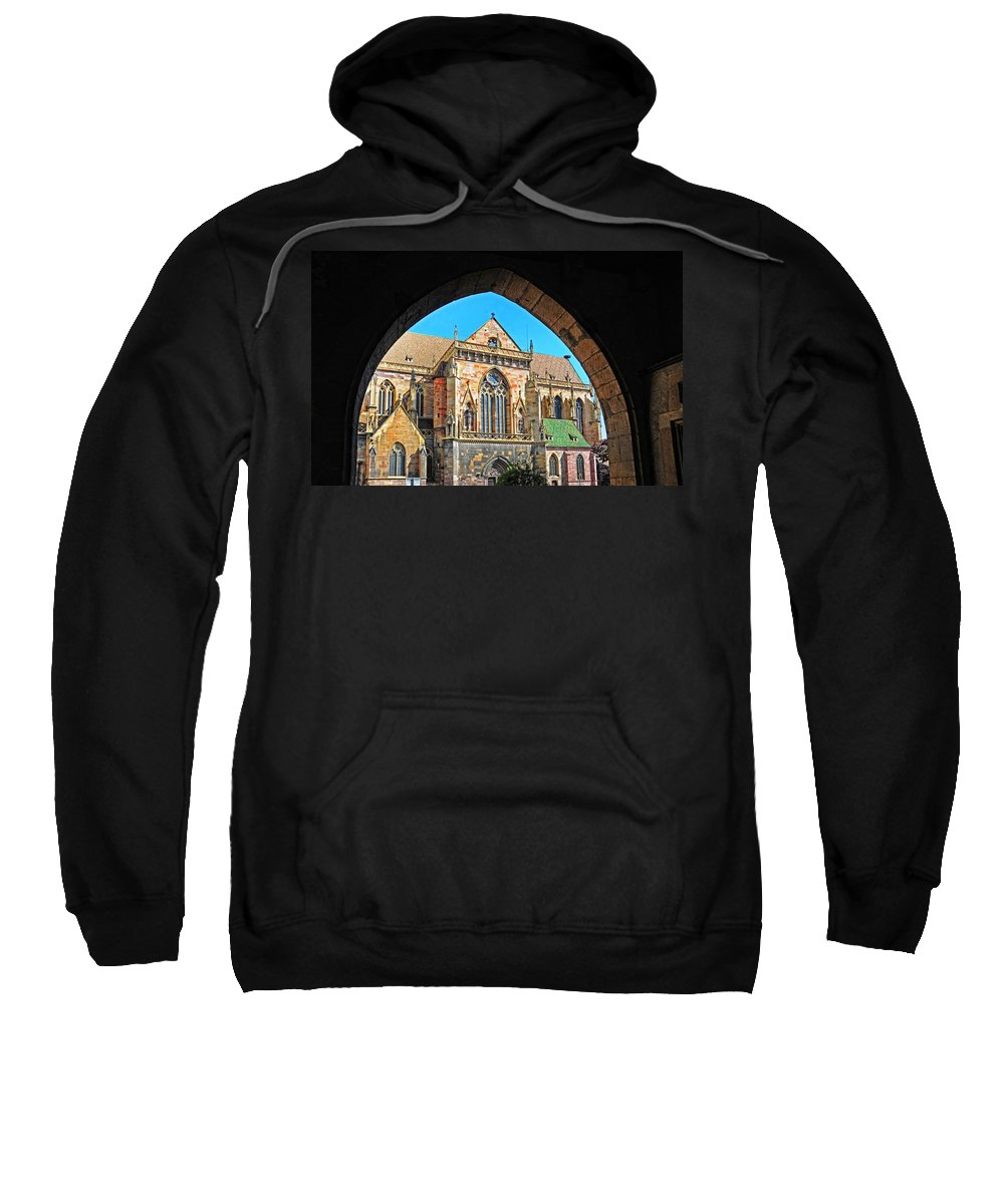 Cathedral Sweatshirt featuring the photograph Cathedral Colmar France by Dave Mills