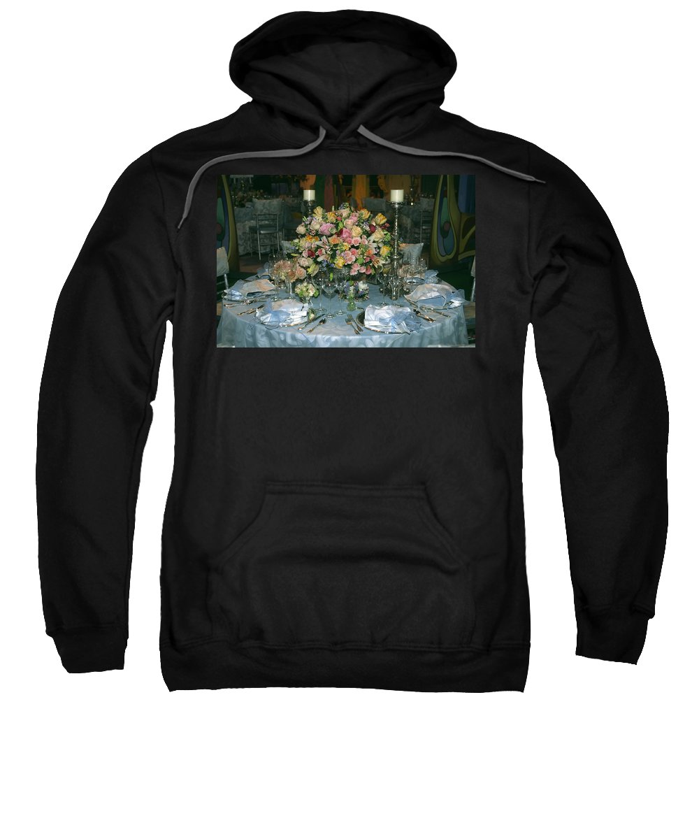 Round Table Set Formally Sweatshirt featuring the photograph Celebration Table by Sally Weigand