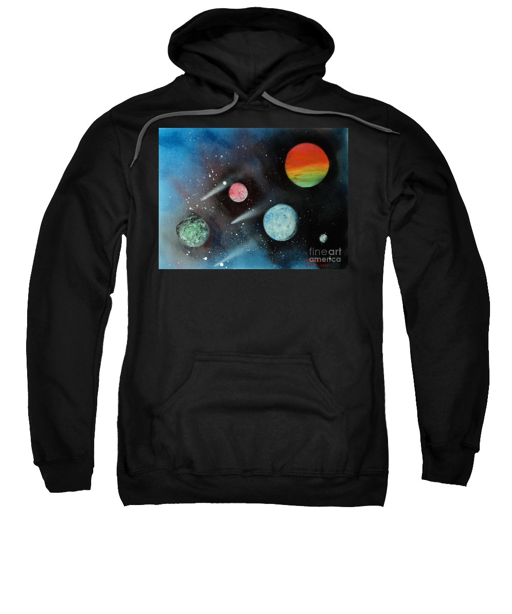Blue Sky Sweatshirt featuring the painting Celestial Planets by Linda Lin