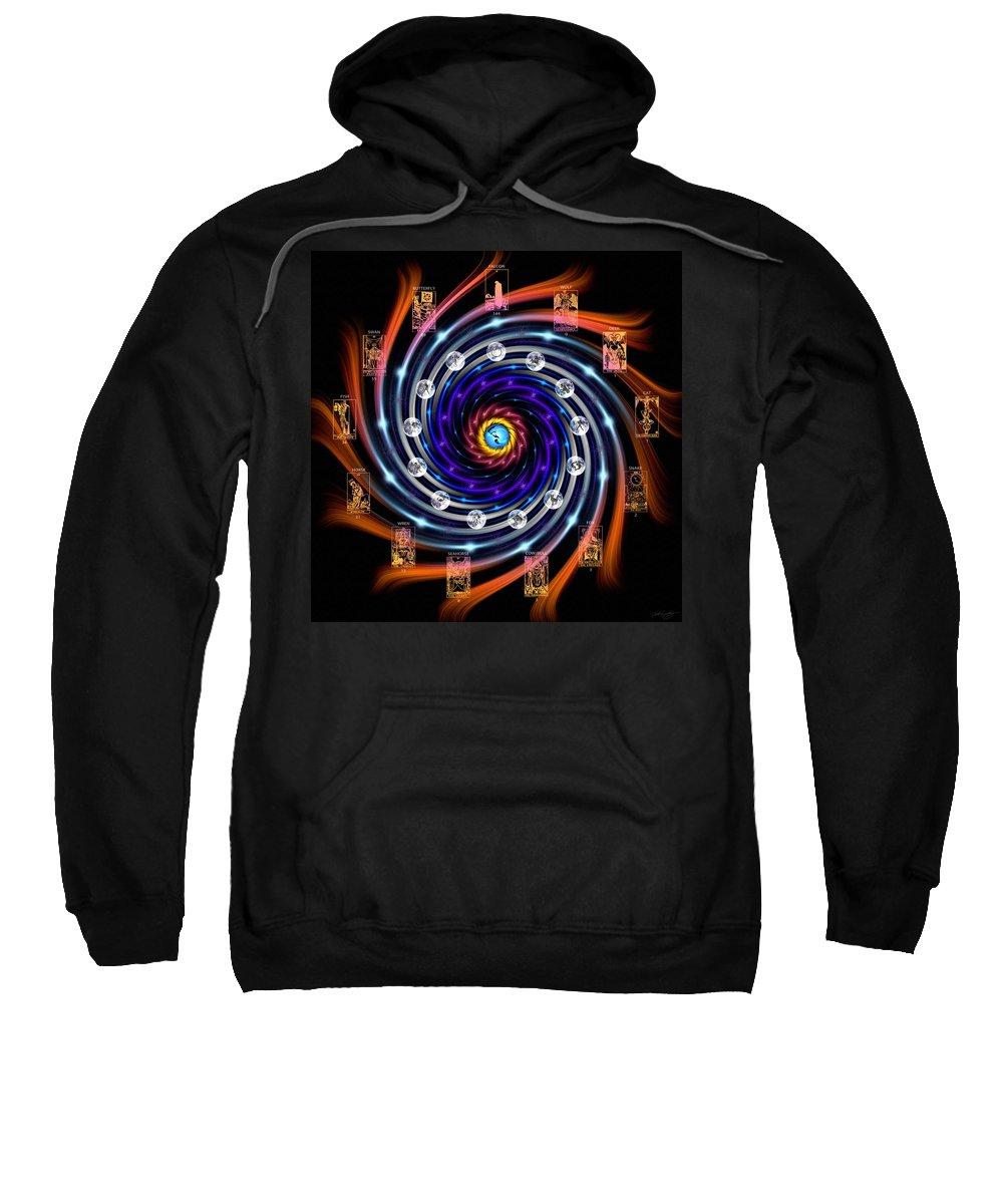 Celtic Sweatshirt featuring the digital art Celtic Tarot Moon Cycle Zodiac by Derek Gedney