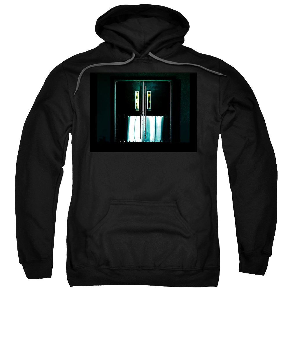Door Sweatshirt featuring the photograph Chained Shut by Steve Taylor