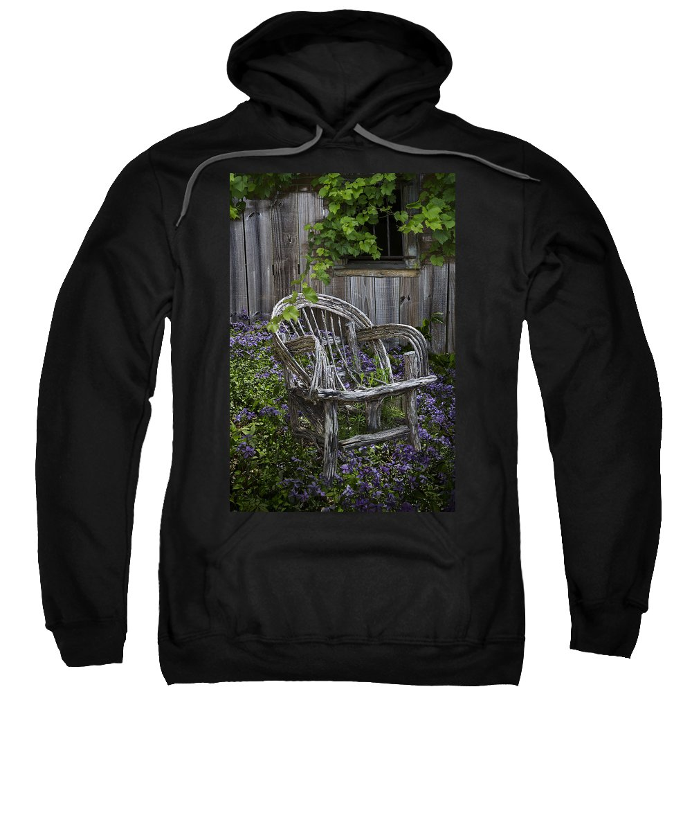Appalachia Sweatshirt featuring the photograph Chair In The Garden by Debra and Dave Vanderlaan