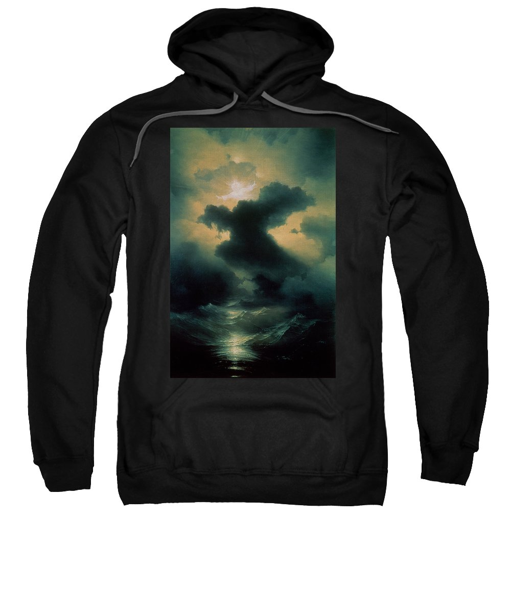 Parting; Waves; Water; Sea; Sky; Heavens; God; Genesis; Biblical; Storm; Power Sweatshirt featuring the painting Chaos The Creation by Ivan Konstantinovich Aivazovsky