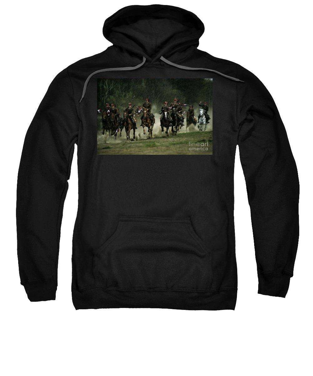 Cavalery Sweatshirt featuring the photograph Charge by Angel Ciesniarska