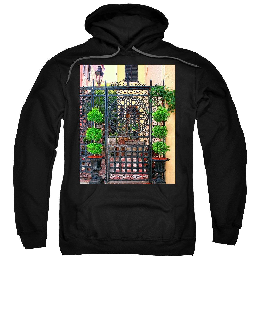 Charleston Sweatshirt featuring the photograph Charleston Gate Charleston Sc by William Dey