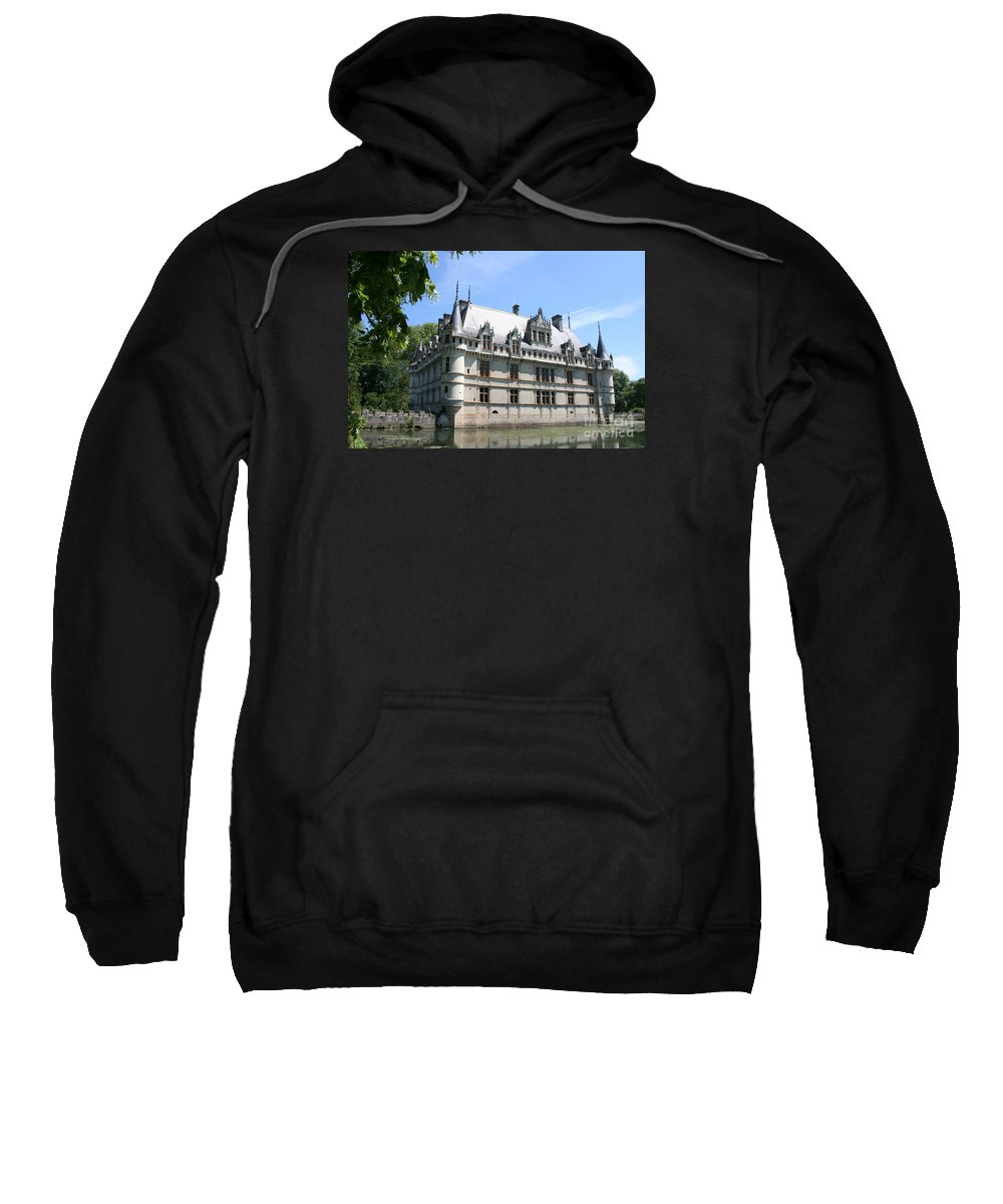 Moated Castle Sweatshirt featuring the photograph Chateau Azay-le-rideau From The Gardens by Christiane Schulze Art And Photography