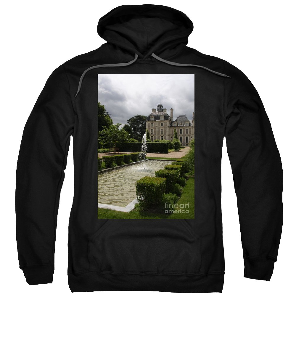 Palace Sweatshirt featuring the photograph Chateau De Cheverny With Garden Fountain by Christiane Schulze Art And Photography