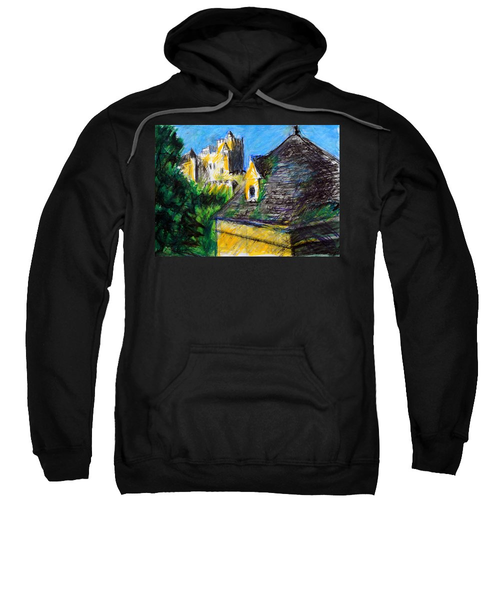 Landscape Sweatshirt featuring the pastel Chateau In Dordogne France by Paul Sutcliffe