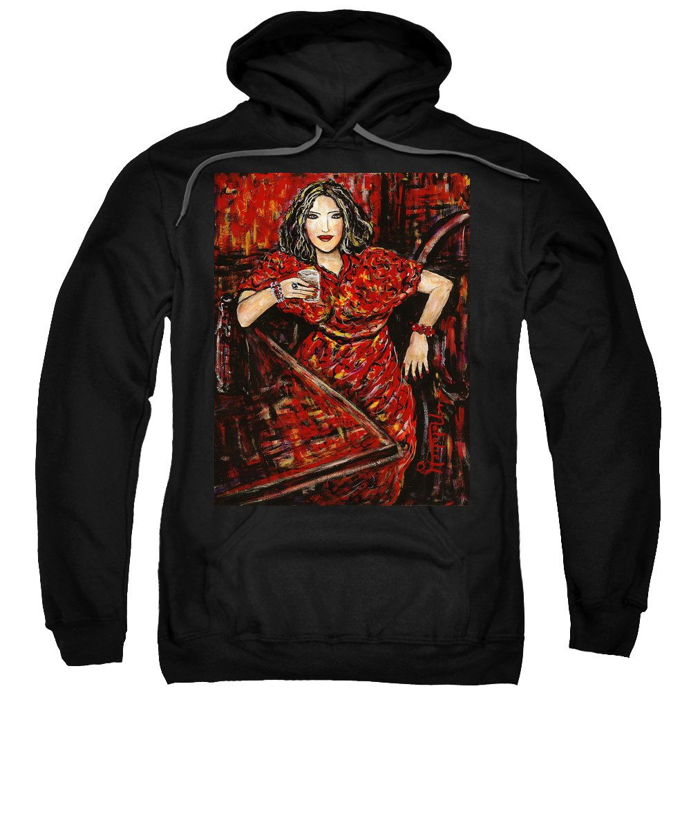 Woman Sweatshirt featuring the painting Cheers by Natalie Holland