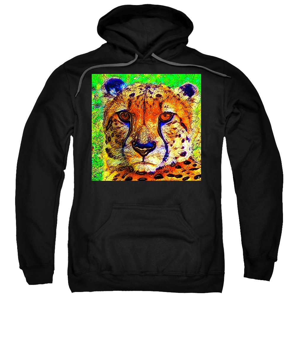Art Sweatshirt featuring the painting Face Of The Cheetah by David Lee Thompson
