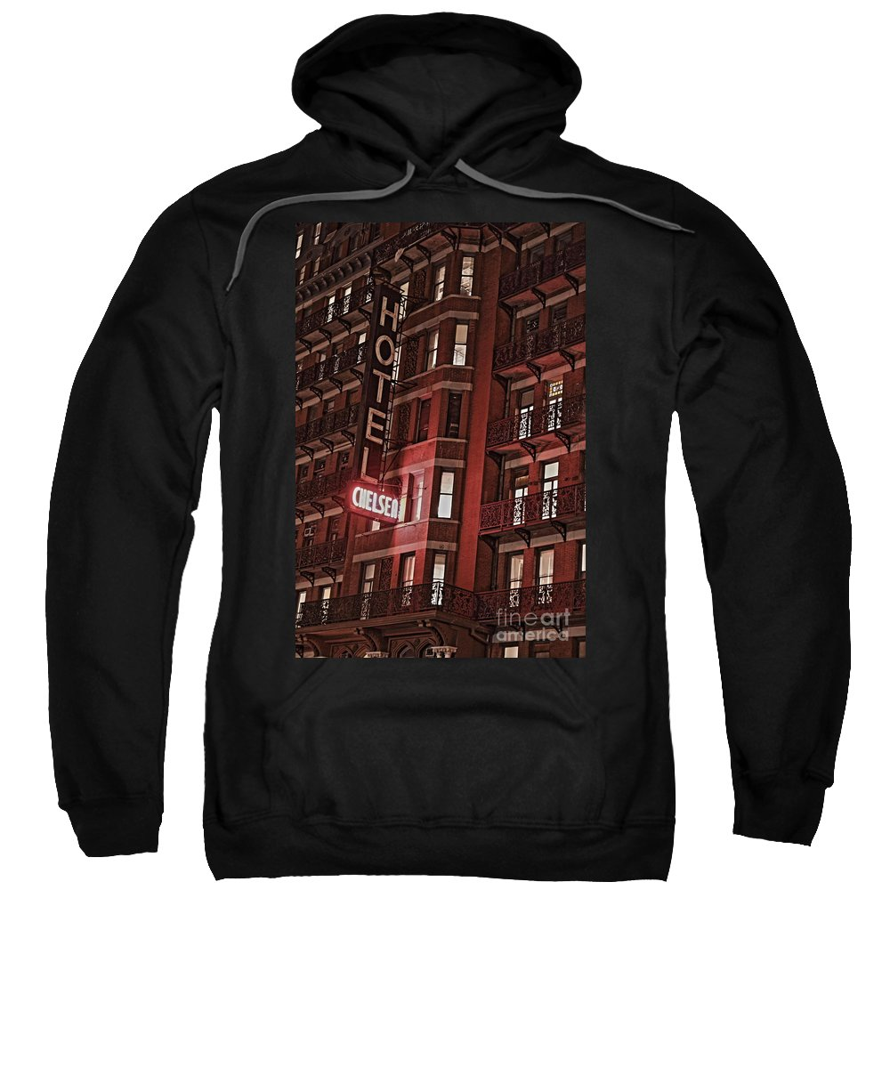 Chelsea Sweatshirt featuring the photograph Chelsea Hotel by David Rucker
