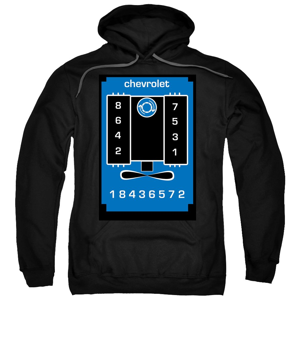 Chevrolet Sweatshirt featuring the digital art Chevrolet Firing Order by Gabe Arroyo