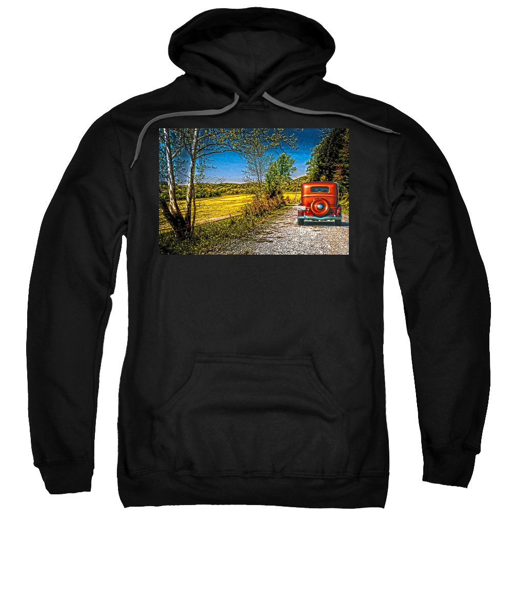 1934 Chevrolet Sweatshirt featuring the photograph Chevy 34 Sweet Country Road by Randall Branham