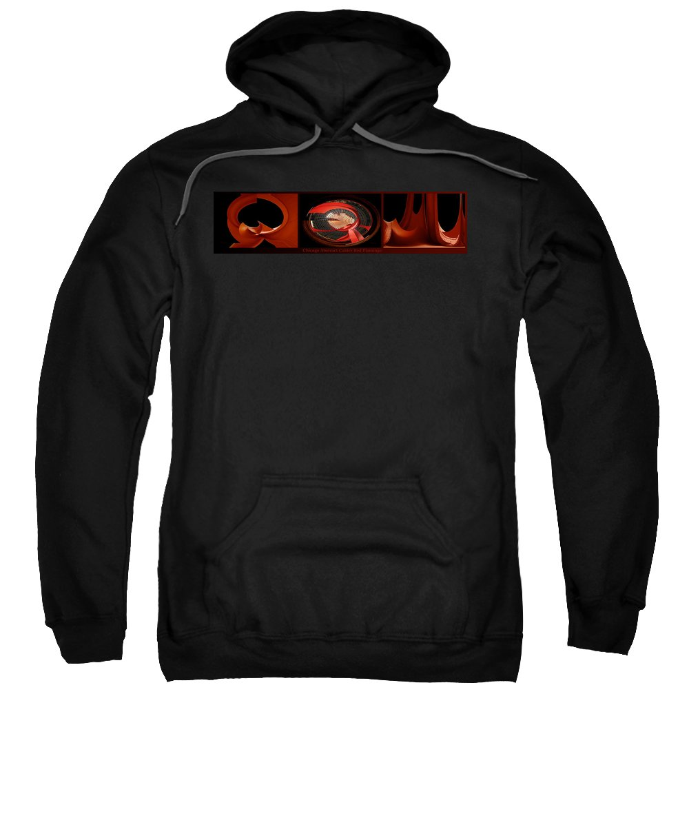Flamingo Sweatshirt featuring the photograph Chicago Abstract Calder Red Flamingo Triptych 3 Panel by Thomas Woolworth