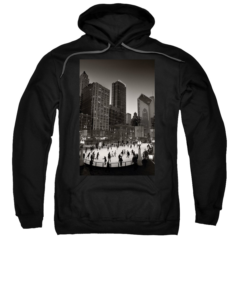 Chicago Sweatshirt featuring the photograph Chicago Park Skate Bw by Steve Gadomski