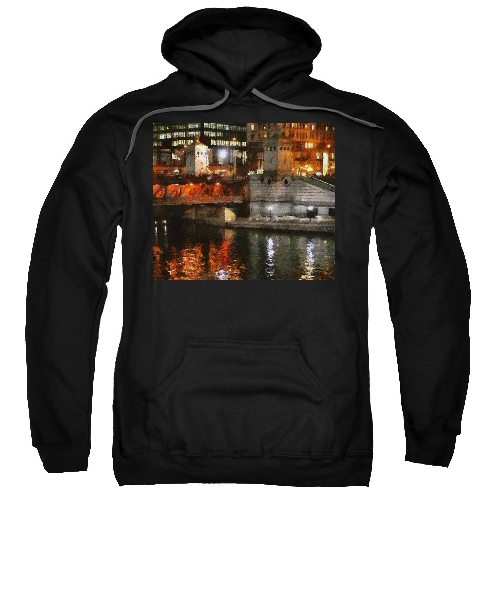 Bridge Sweatshirt featuring the painting Chicago River At Michigan Avenue by Jeffrey Kolker