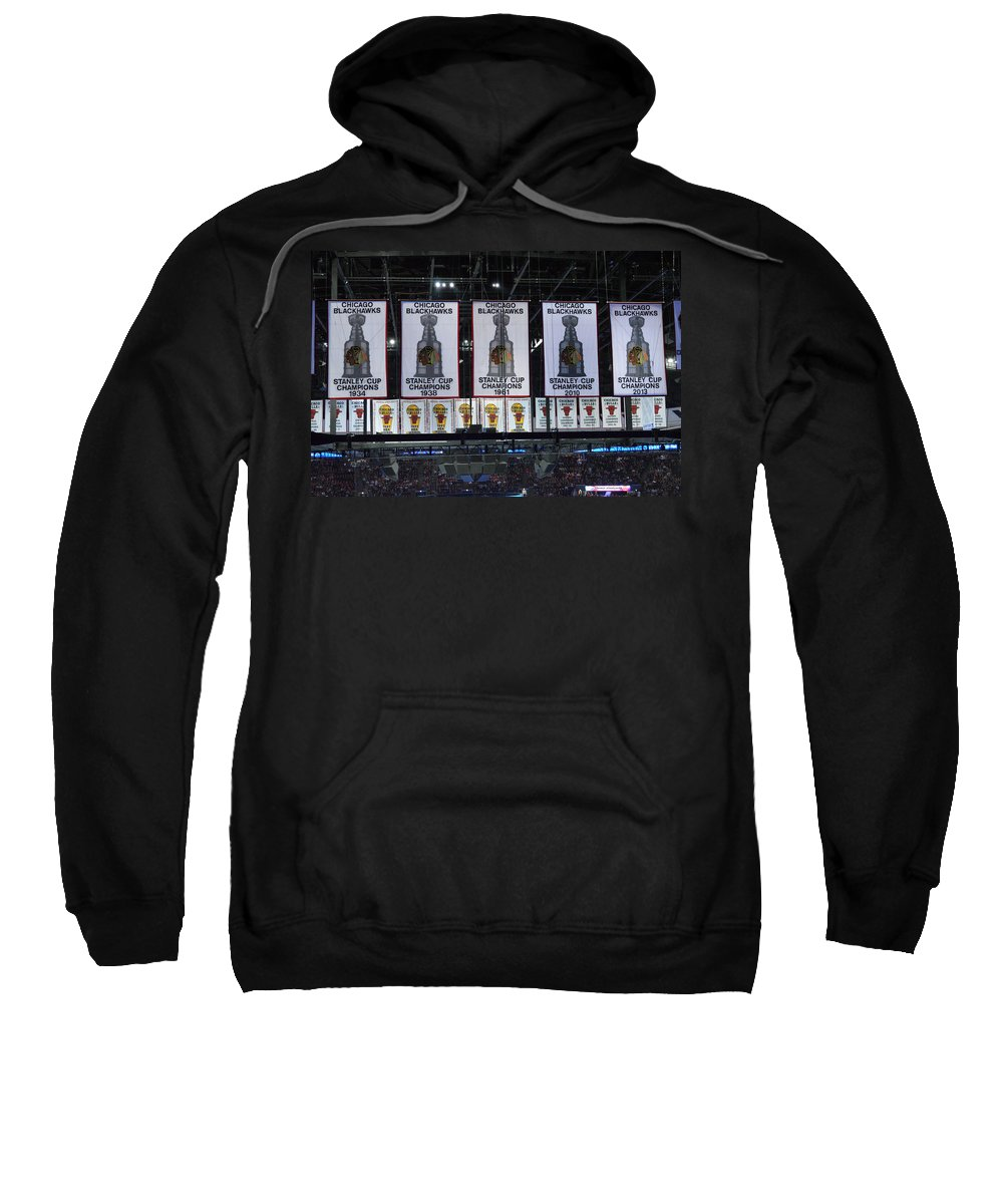Chicago Blackhawks Sweatshirt featuring the photograph Chicago United Center Banners by Thomas Woolworth