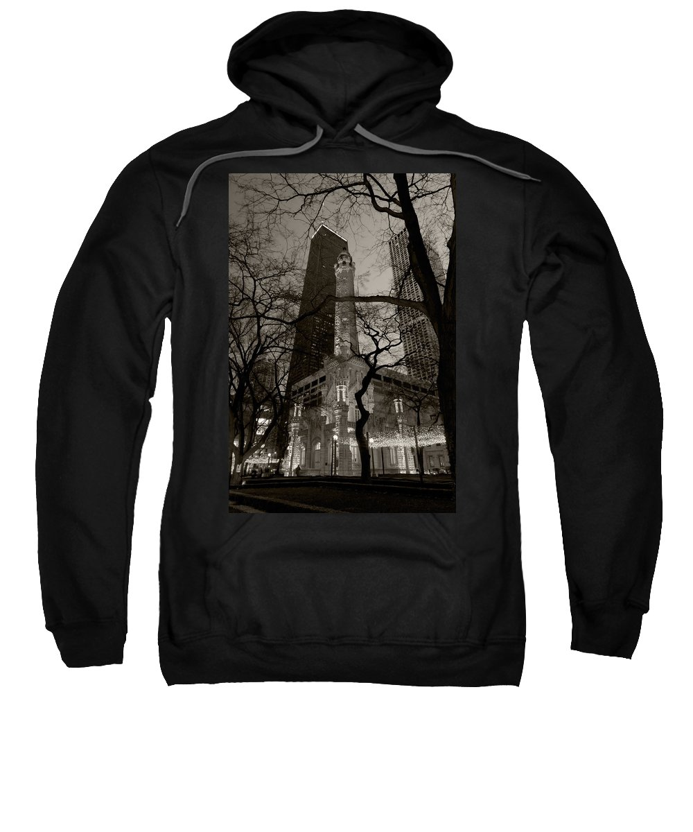 Ave Sweatshirt featuring the photograph Chicago Water Tower B W by Steve Gadomski