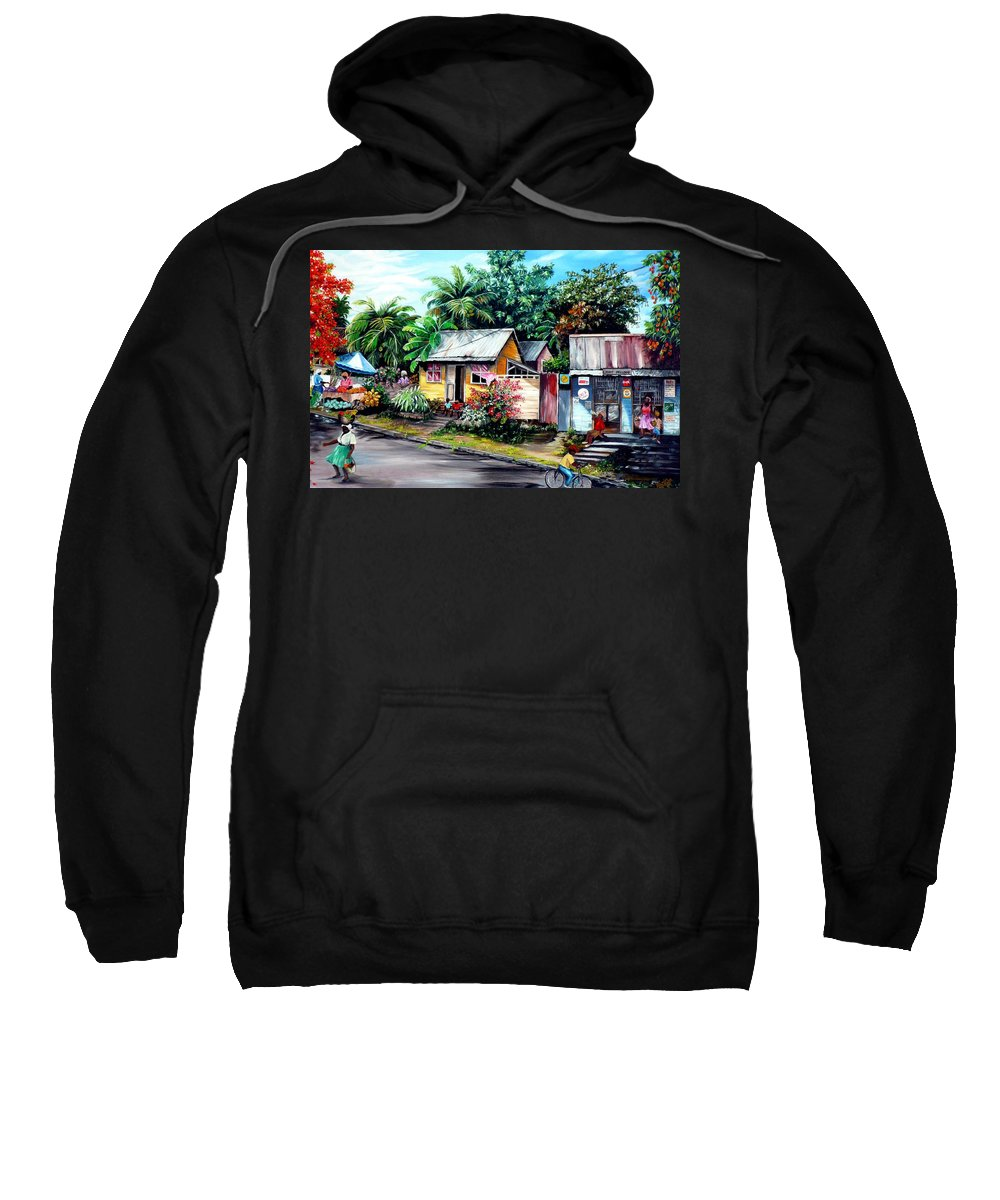 Landscape Painting Caribbean Painting Shop Trinidad Tobago Poinciana Painting Market Caribbean Market Painting Tropical Painting Sweatshirt featuring the painting Chins Parlour   by Karin Dawn Kelshall- Best