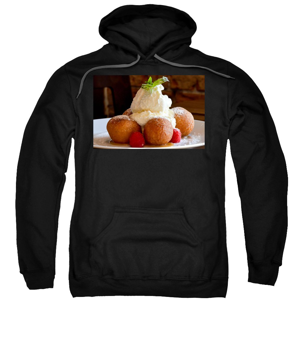 Chocolate Sweatshirt featuring the photograph Chocolate Beignet Dessert by Michael Moriarty