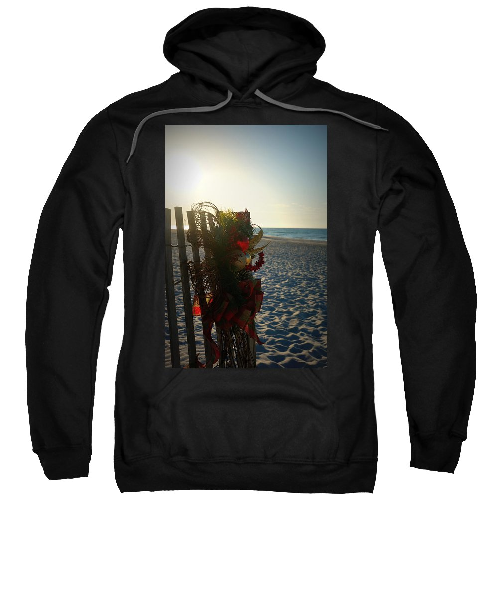 Digital Photograph Sweatshirt featuring the photograph Christmas At The Beach by Laurie Pike