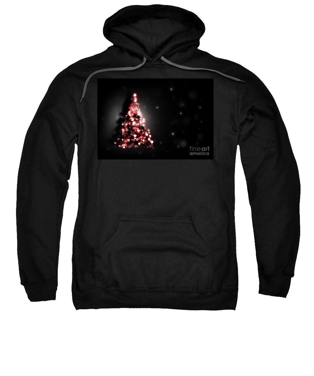 Tree Sweatshirt featuring the digital art Christmas Tree Shining On Black Background by Michal Bednarek
