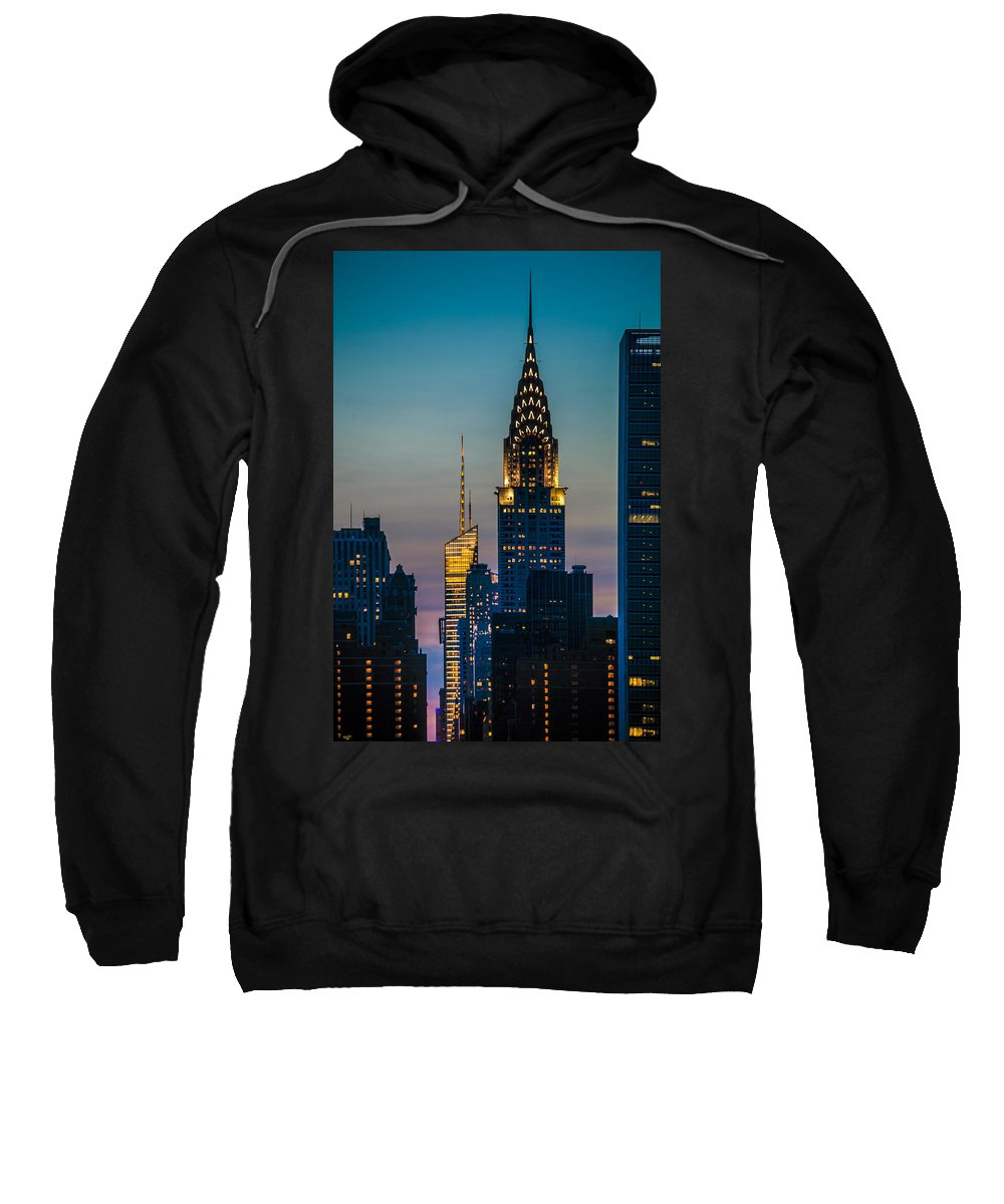 Forty Second Street Sweatshirt featuring the photograph Chrysler Building At Sunset by Chris Lord