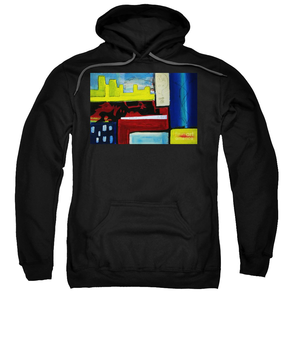Painting Sweatshirt featuring the painting City Life by Jeff Barrett