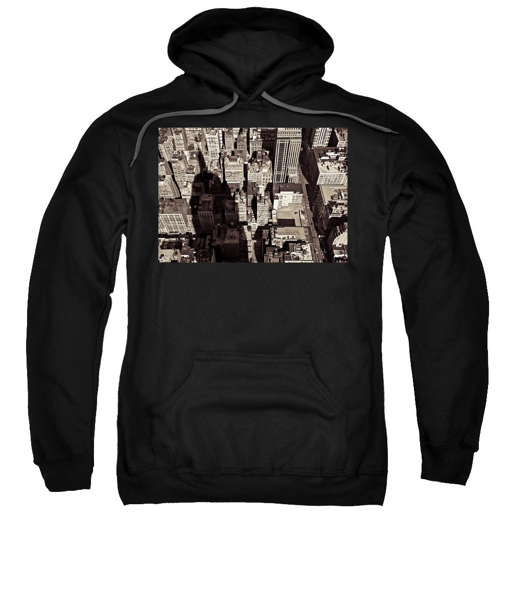 New York Sweatshirt featuring the photograph City Shadow by Dave Bowman