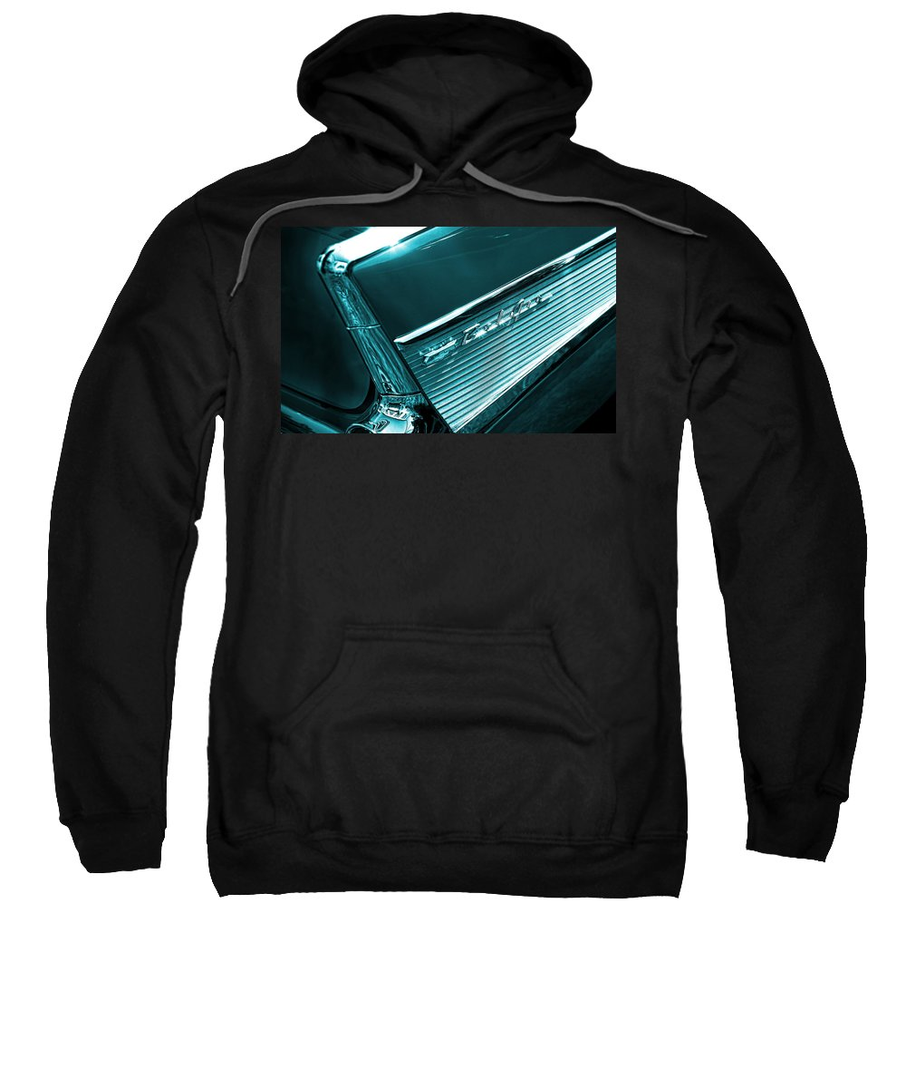 Sweatshirt featuring the photograph Classic '57 Teal And Chrome by Gordon Dean II