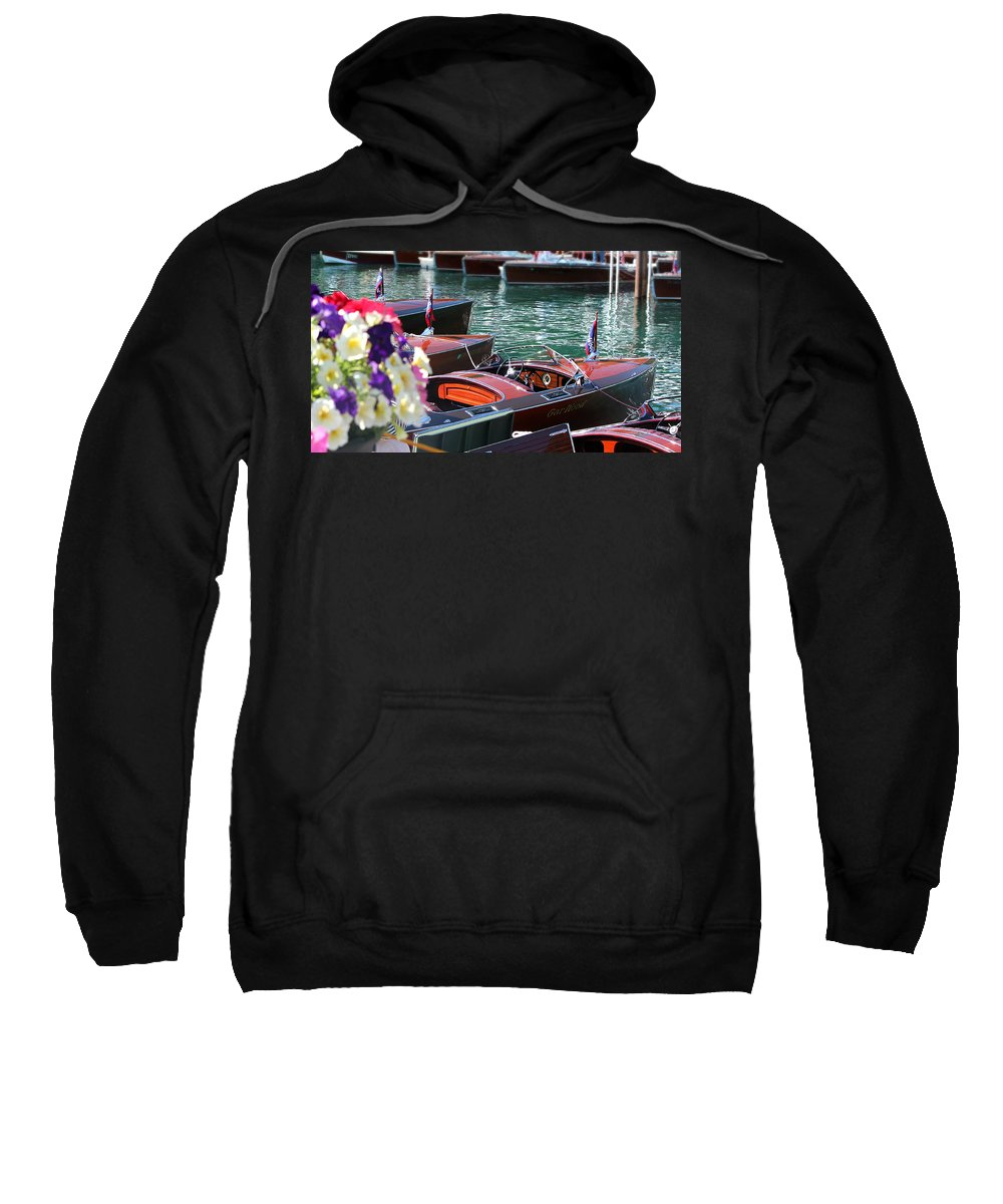 Wooden Boat Sweatshirt featuring the photograph Classic Boats In Lake Tahoe by Steve Natale