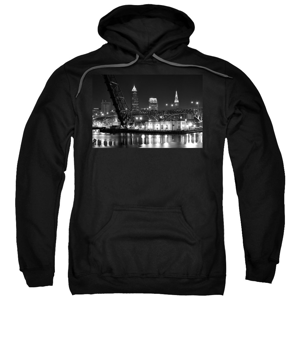 Cleveland Sweatshirt featuring the photograph Cleveland Shining Bright by Frozen in Time Fine Art Photography
