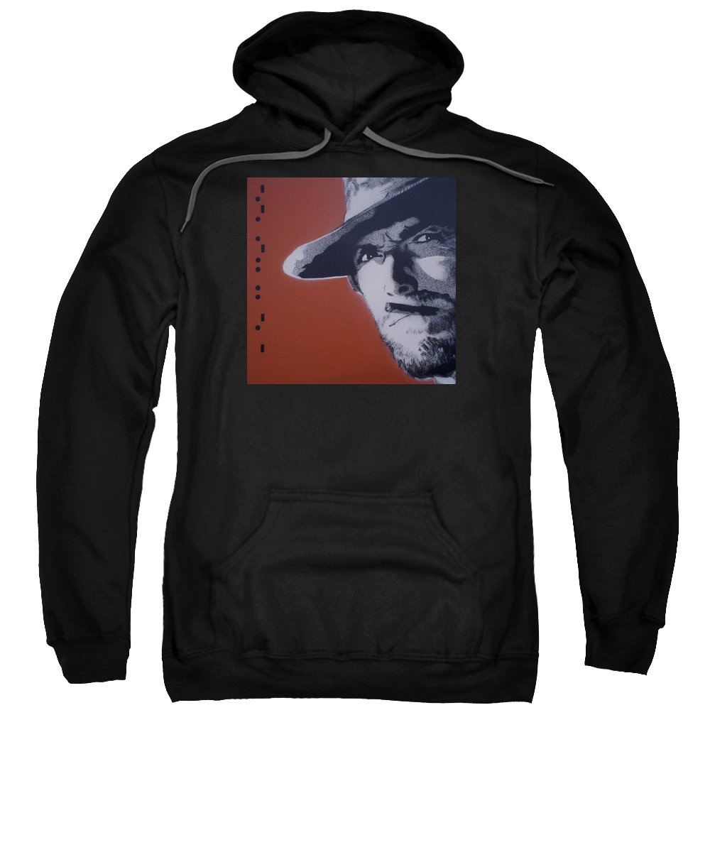 Clint Eastwood Sweatshirt featuring the painting Clint Eastwood by Gary Hogben
