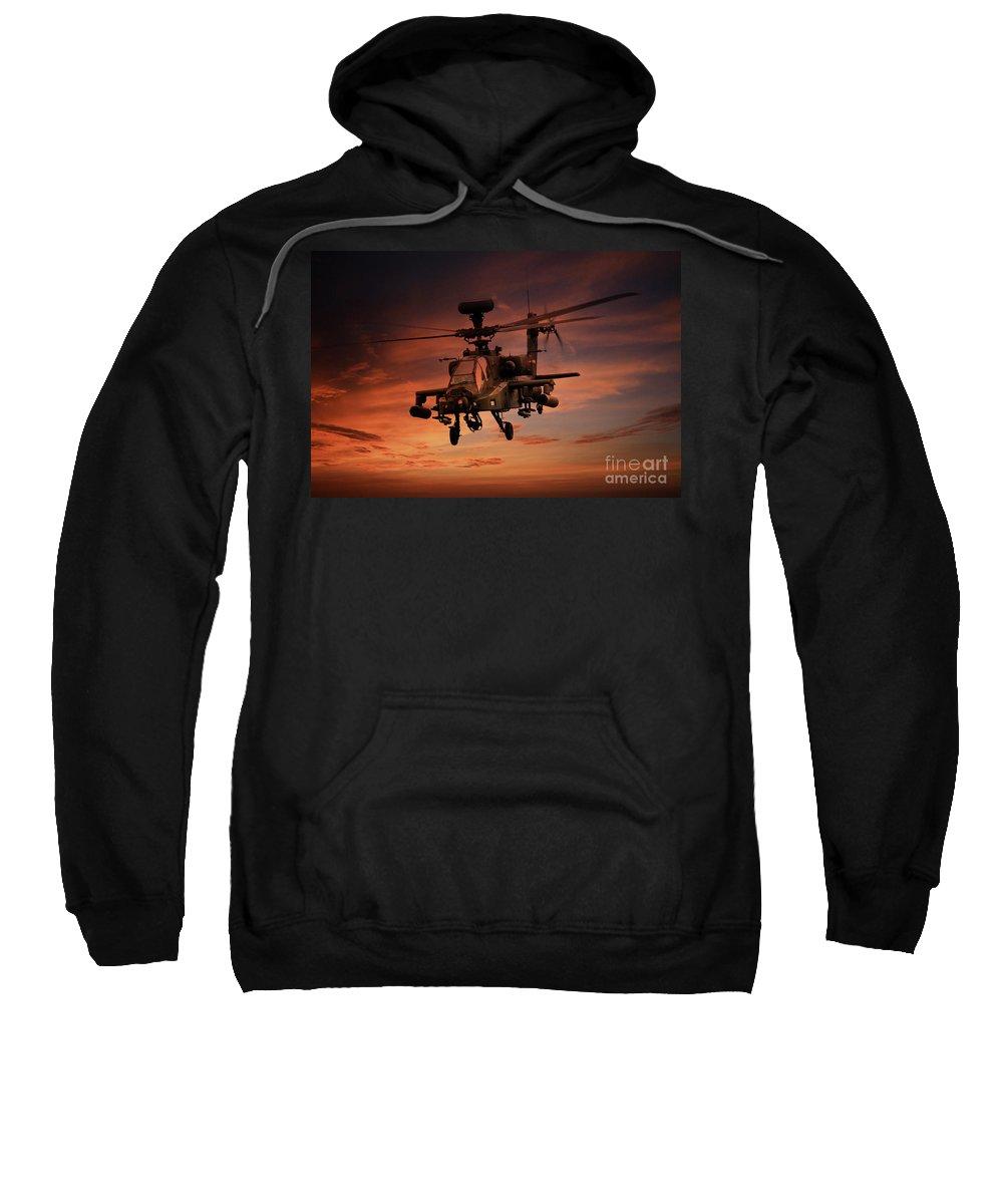 Apache Ah1 Sweatshirt featuring the digital art Close Air Support by J Biggadike