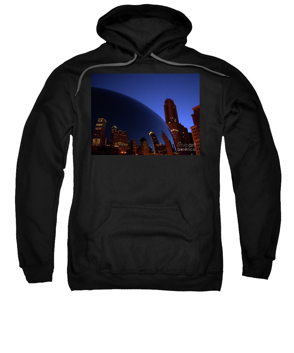 Chicago Sweatshirt featuring the photograph Cloud Gate The Bean Millenium Park Closer by Heather Kirk