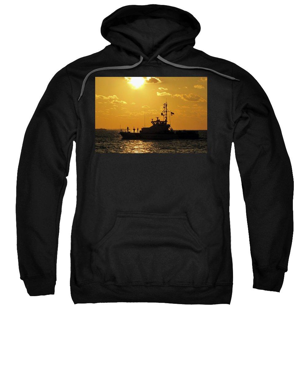 Sky Sweatshirt featuring the photograph Coast Guard In Paradise - Key West by Bob Slitzan