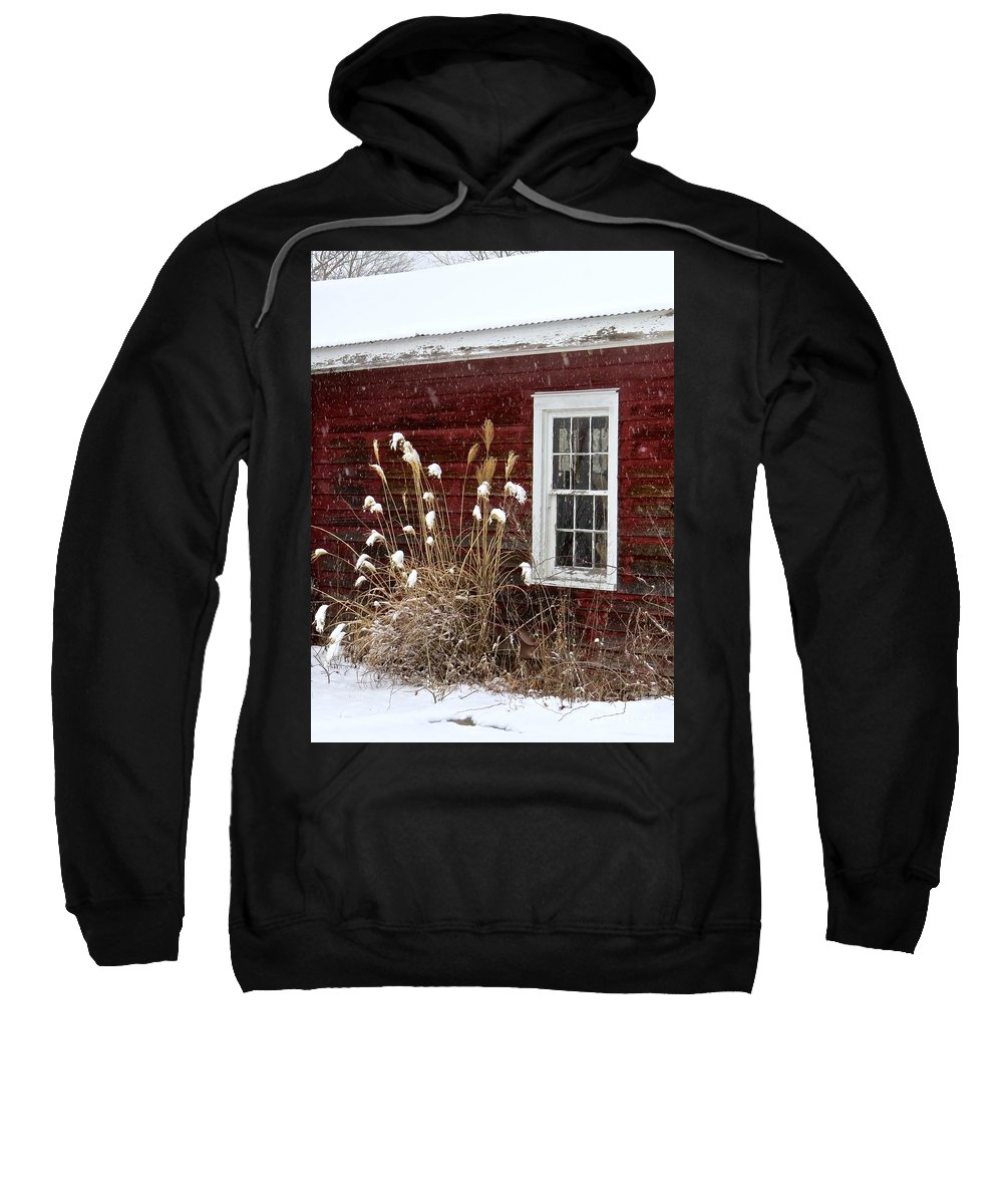 Wood Window Sweatshirt featuring the photograph Cold Winter Day by Nancy Patterson