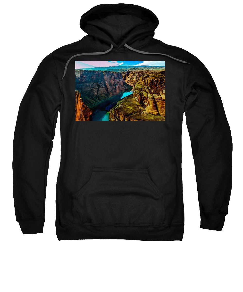 Grand Canyon Sweatshirt featuring the painting Colorado River Grand Canyon by Bob and Nadine Johnston