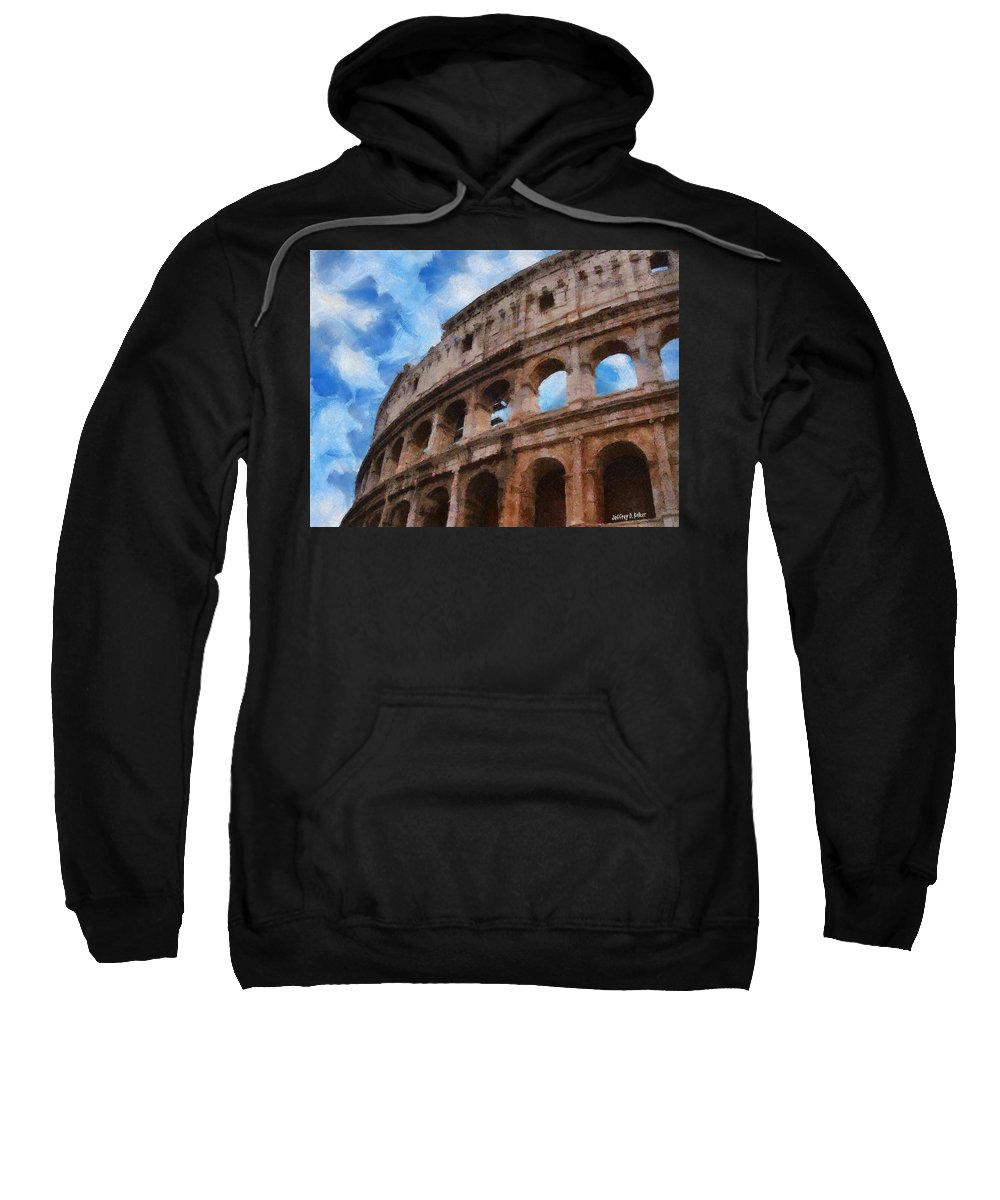 Archaeology Sweatshirt featuring the painting Colosseo by Jeffrey Kolker