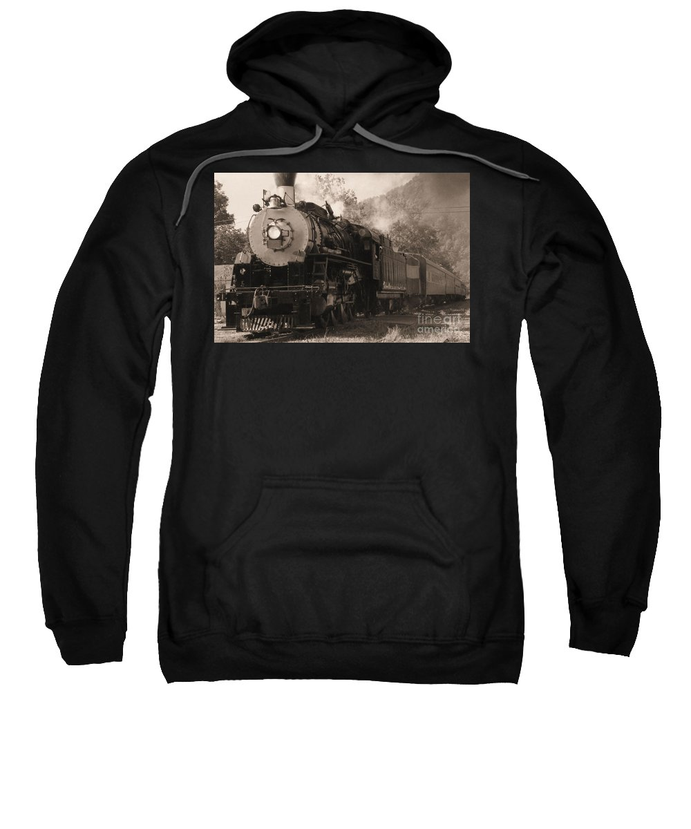 Trains Sweatshirt featuring the photograph Coming Around The Mountain by Richard Rizzo
