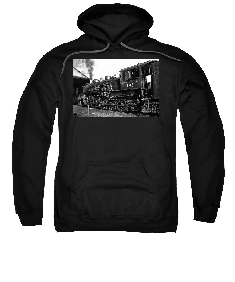Railroad Sweatshirt featuring the photograph Coming Out Of The Engine Shed by Paul W Faust - Impressions of Light