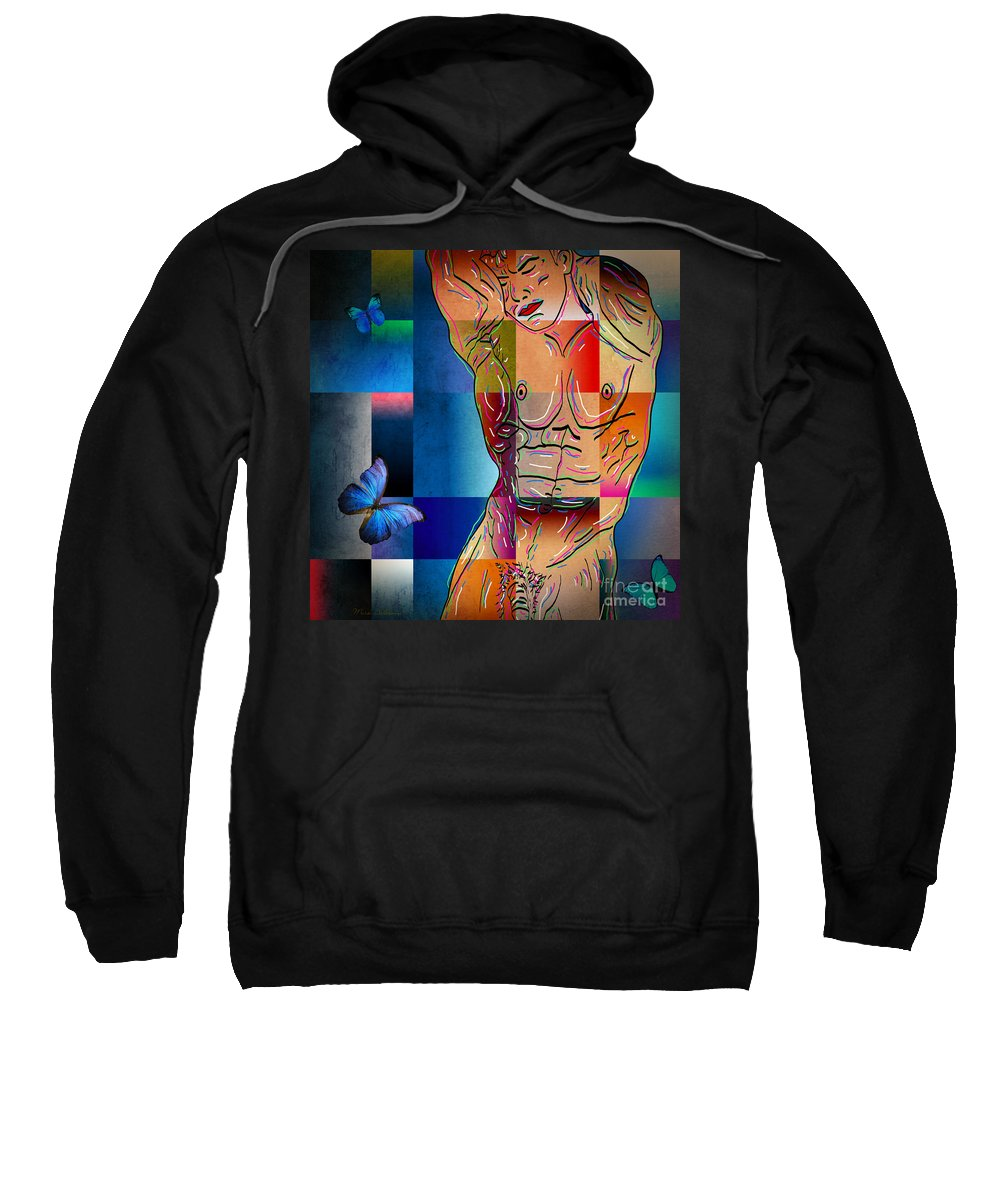 Male Nude Sweatshirt featuring the photograph Composition In Blue by Mark Ashkenazi