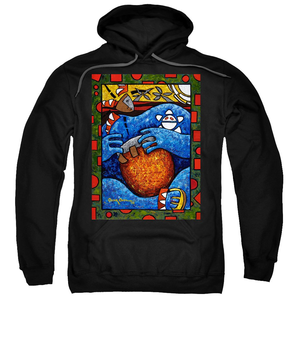 Puerto Rico Sweatshirt featuring the painting Conga On Fire by Oscar Ortiz