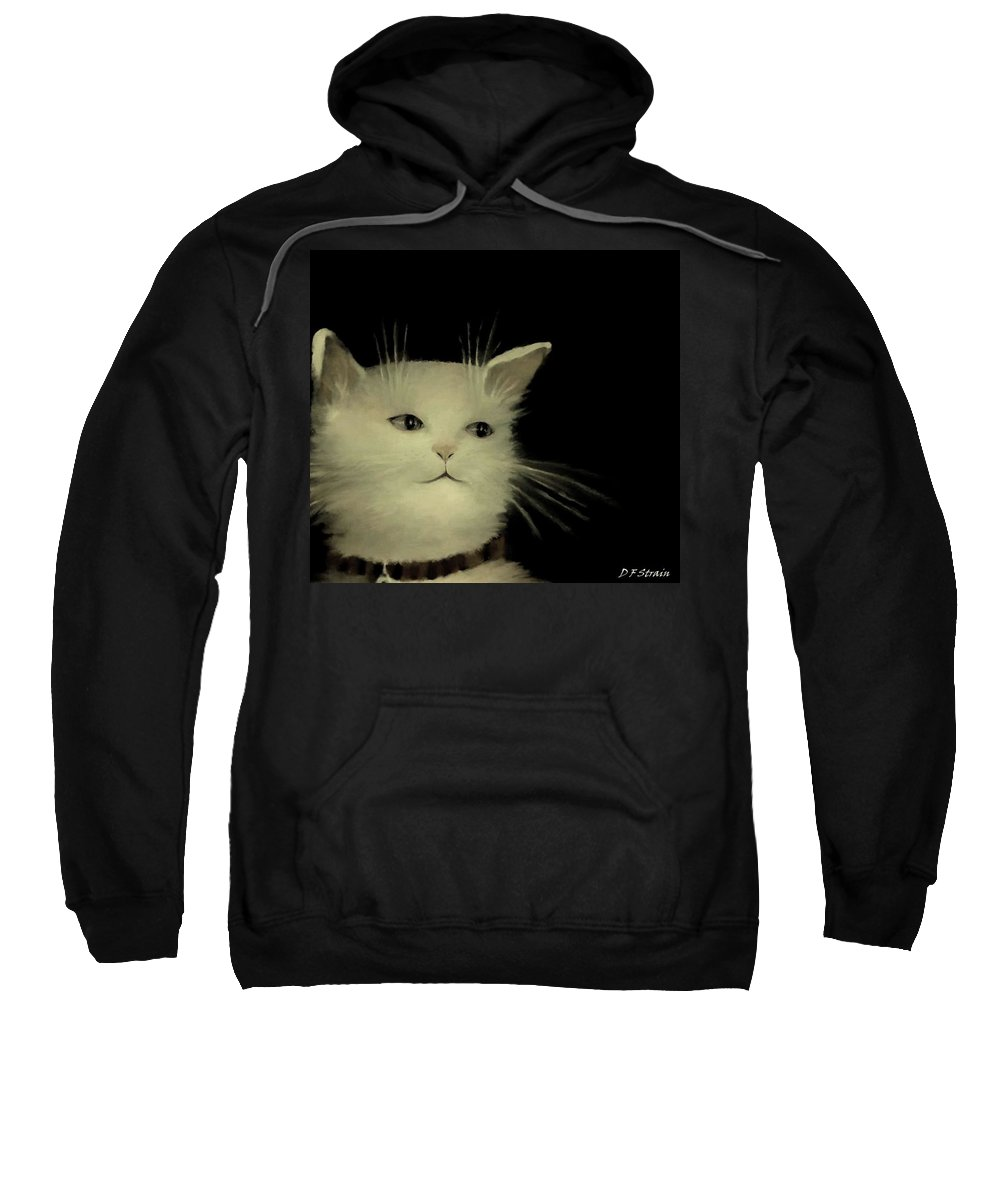 Diane Strain Sweatshirt featuring the painting Contemplative Cat  No.2 by Diane Strain