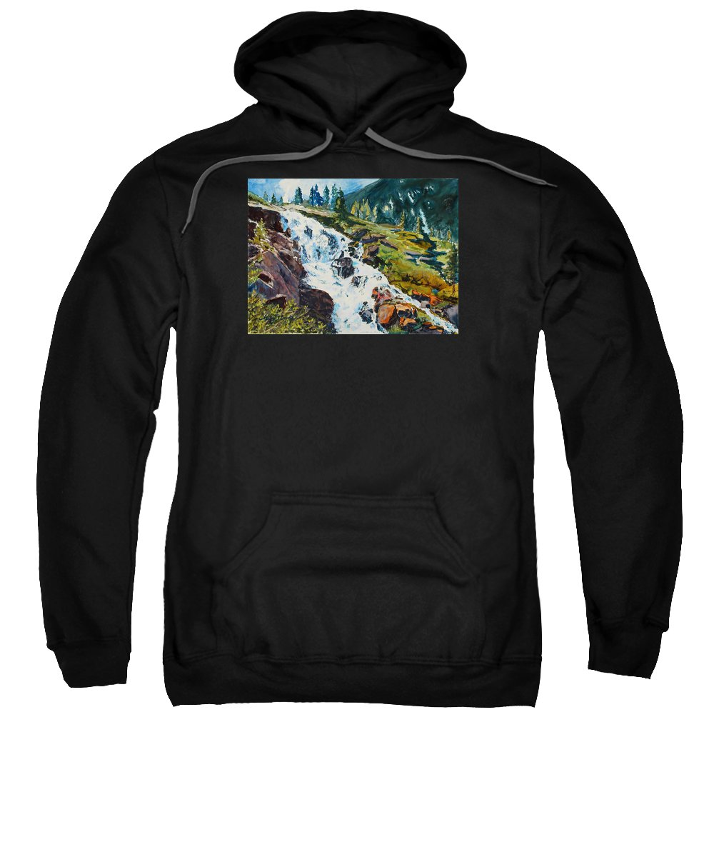 Continental Falls Sweatshirt featuring the painting Continental Falls by Mary Benke